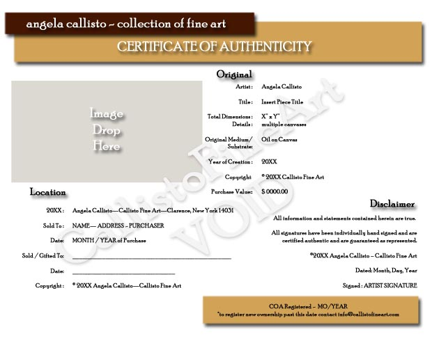 Angela callisto collection of fine art graphic and web design angela callisto sample certificate of authenticity yelopaper Choice Image
